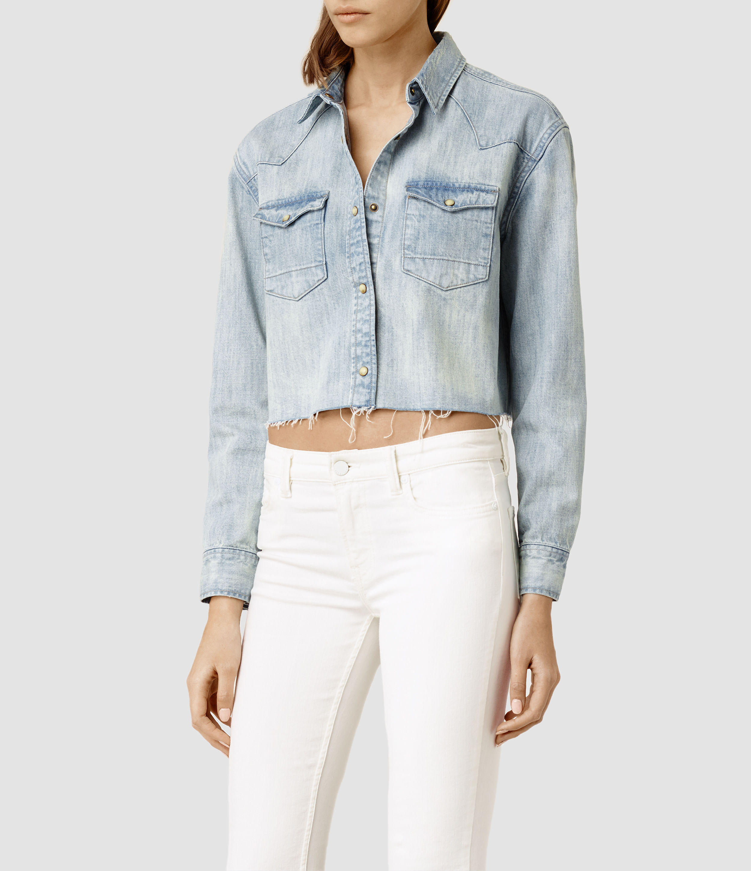 c2928c4435 Lyst - AllSaints Cropped Cannon Shirt in Blue