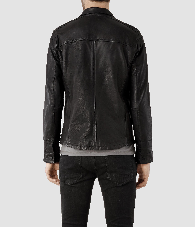 Allsaints Raydon Leather Shirt In Black For Men Lyst
