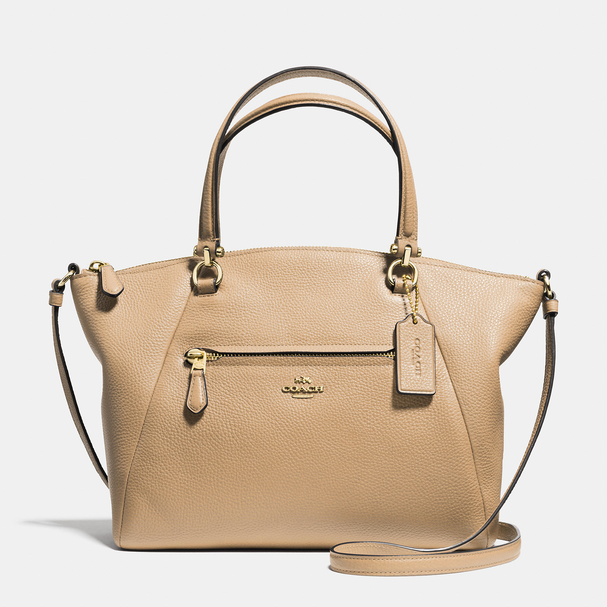 Coach Prairie Satchel In Pebble Leather in Beige (LIGHT GOLD/NUDE ...