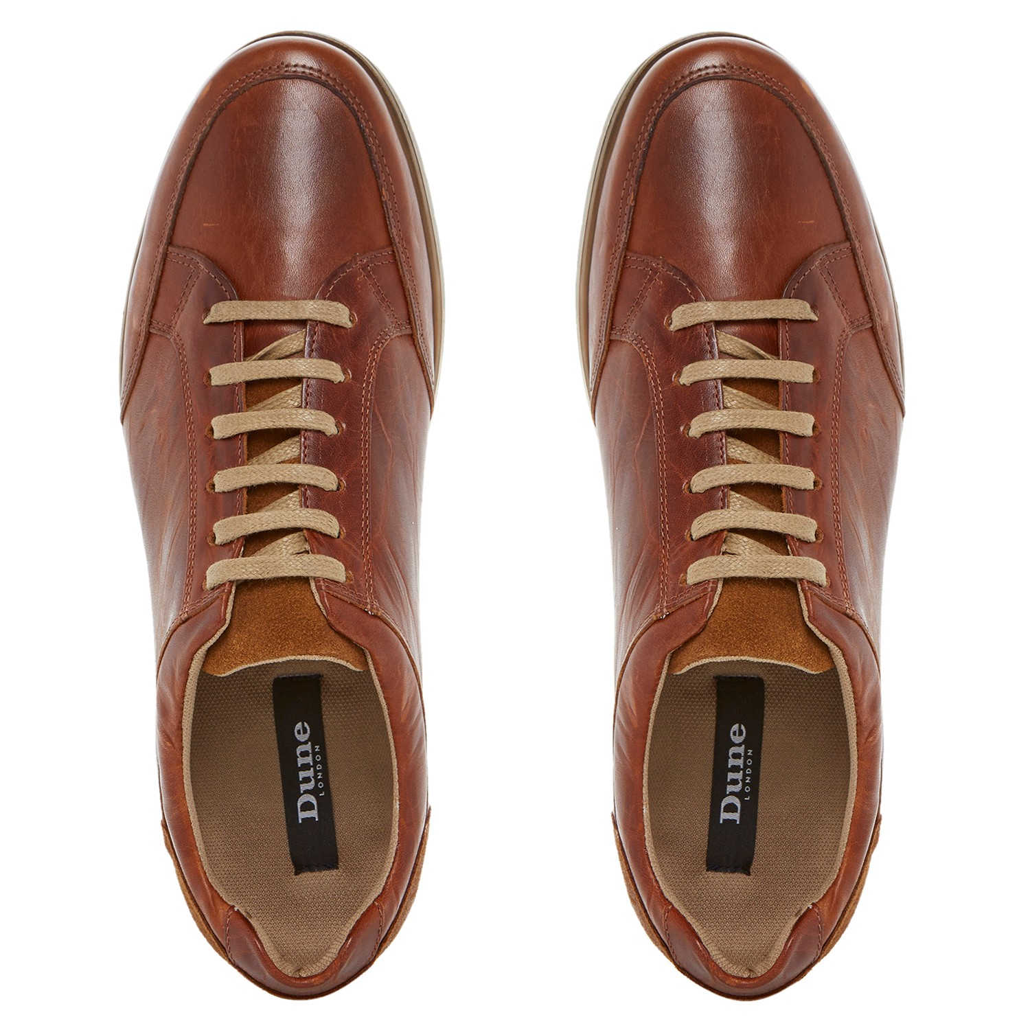 Dune Torpedo Leather Trainers in Brown for Men