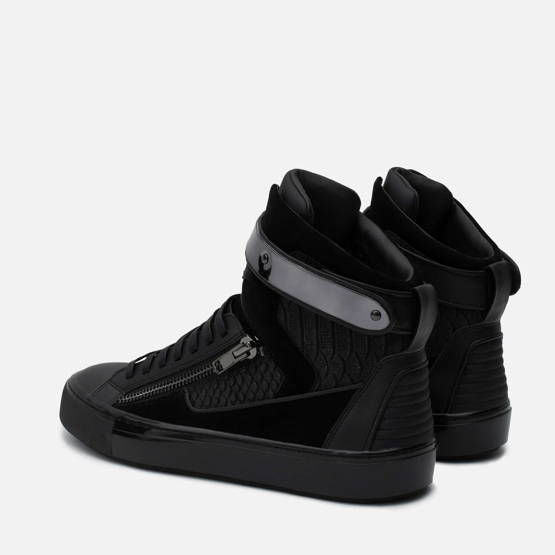 zara high top sneakers with metallic closure in black for