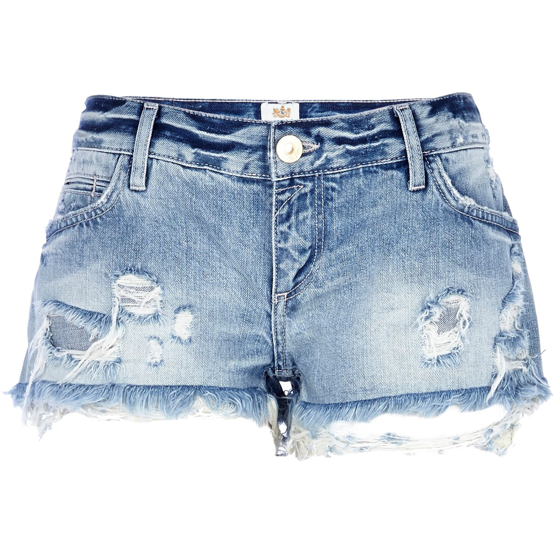 River island Light Wash Ripped Denim Shorts in Blue | Lyst