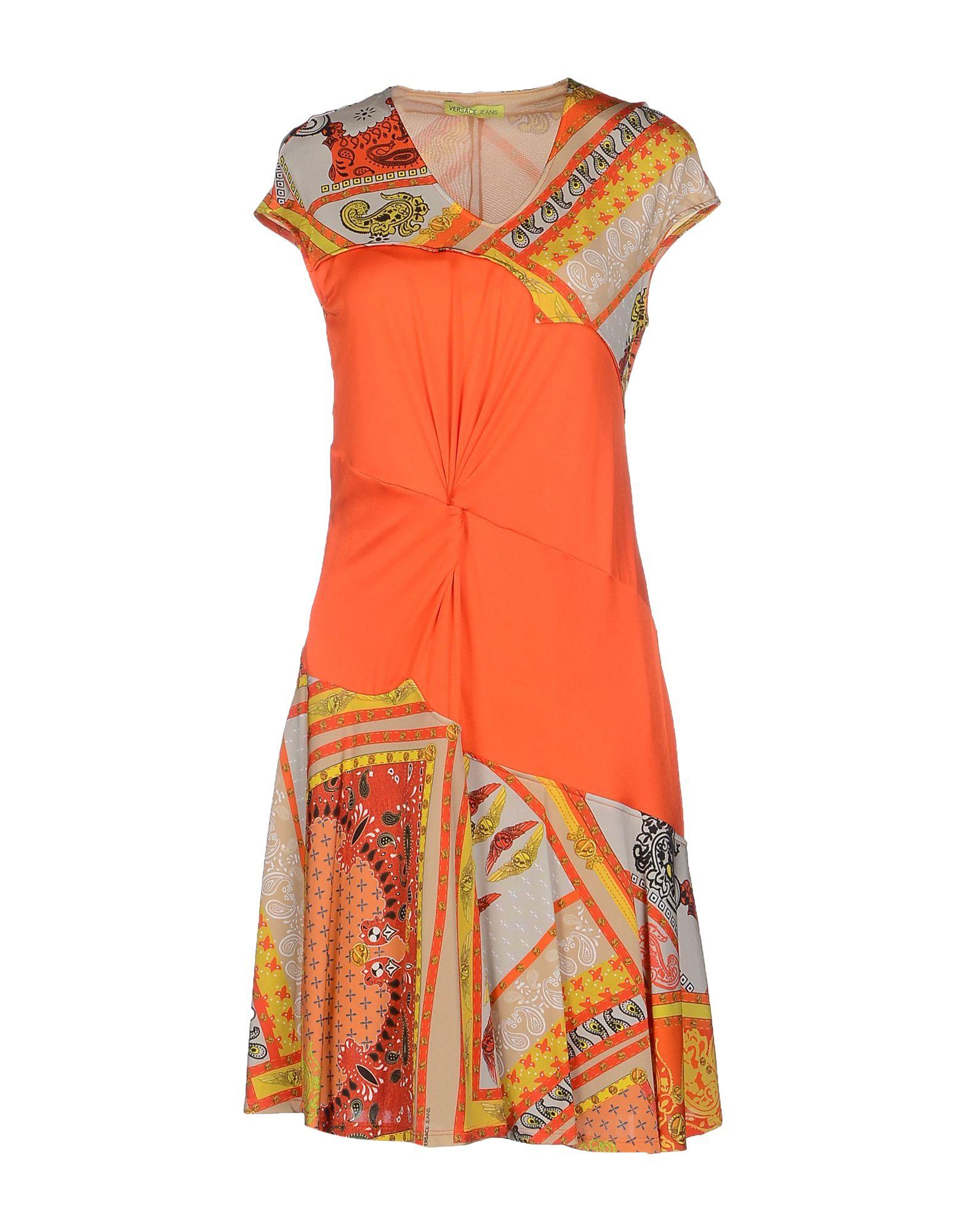 Lyst Versace Jeans Short Dress In Orange
