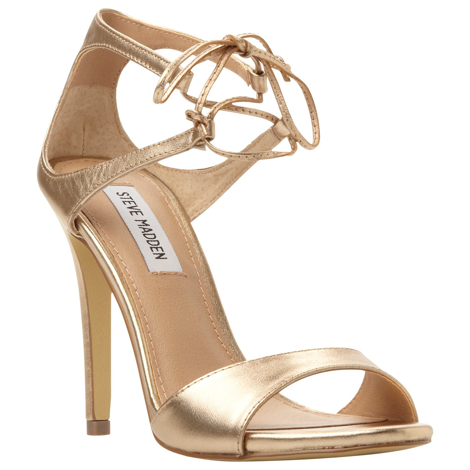 Gold Lace Up High Heels - Is Heel
