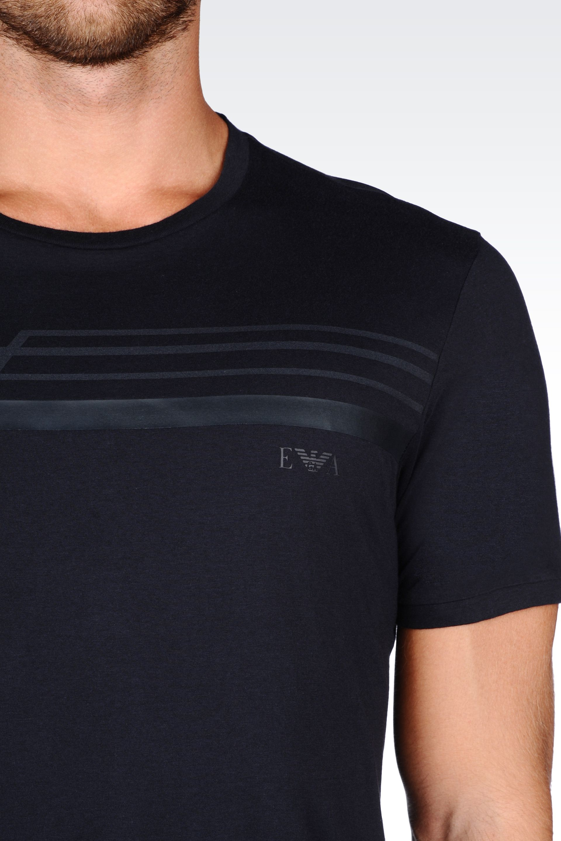 emporio armani jersey t shirt in blue for men lyst. Black Bedroom Furniture Sets. Home Design Ideas