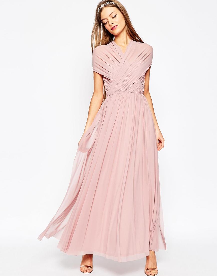 f1acc6cc1298 ASOS Wedding Multiway Mesh Maxi Dress in Pink - Lyst