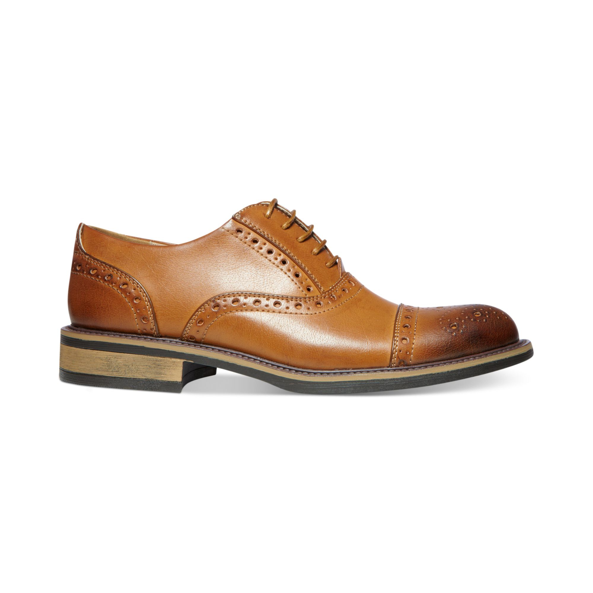 steve madden madden ziggy cap toe dress shoes in brown for