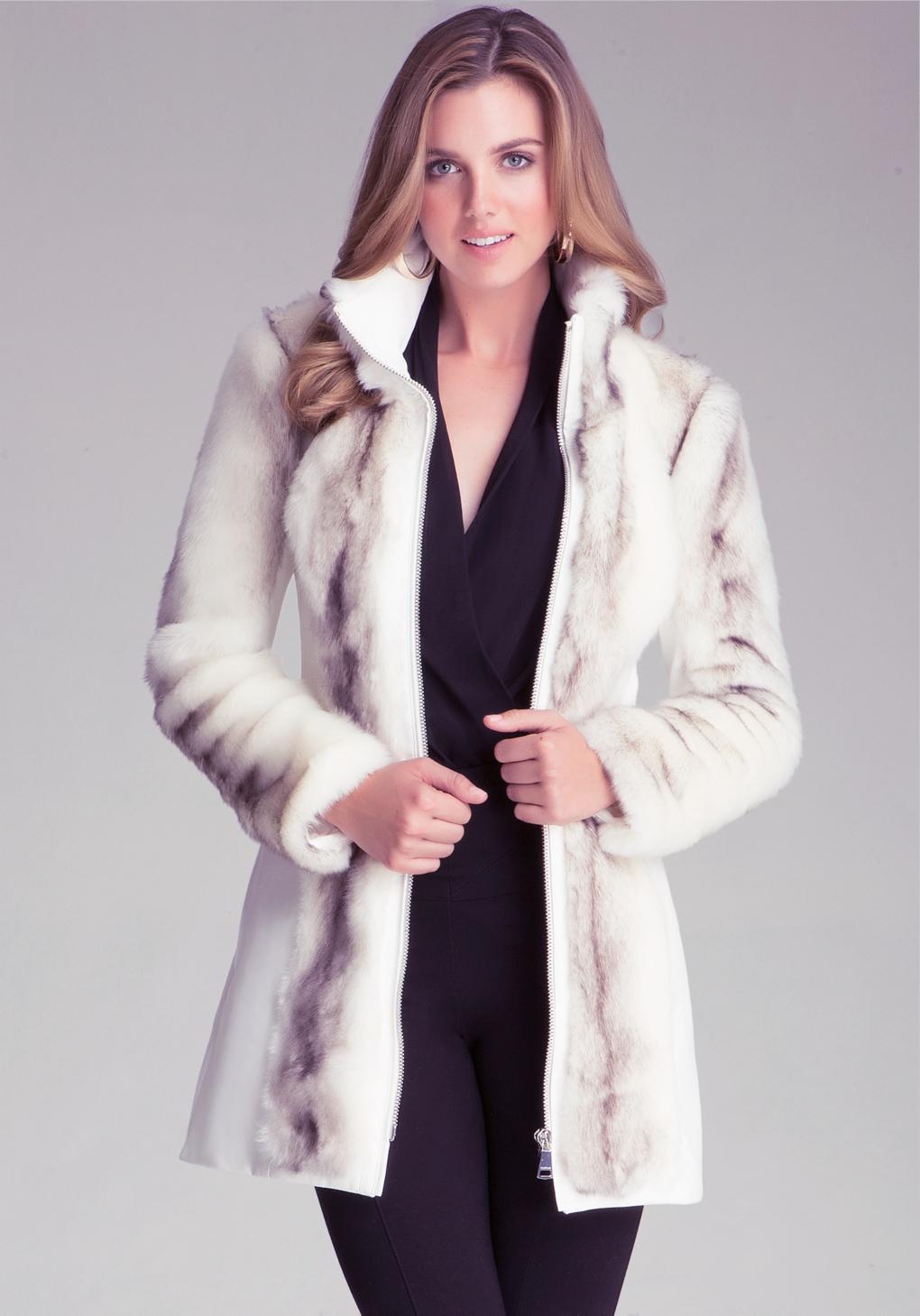 Bebe Long Faux Fur Coat in White | Lyst