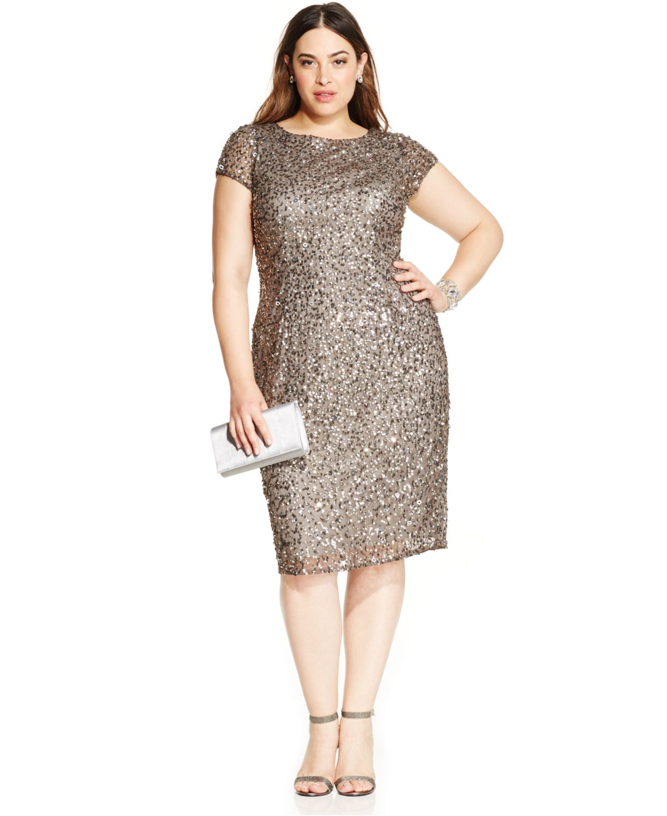 Lyst - Adrianna Papell Plus Size Sequined Scoop-back Dress in Metallic