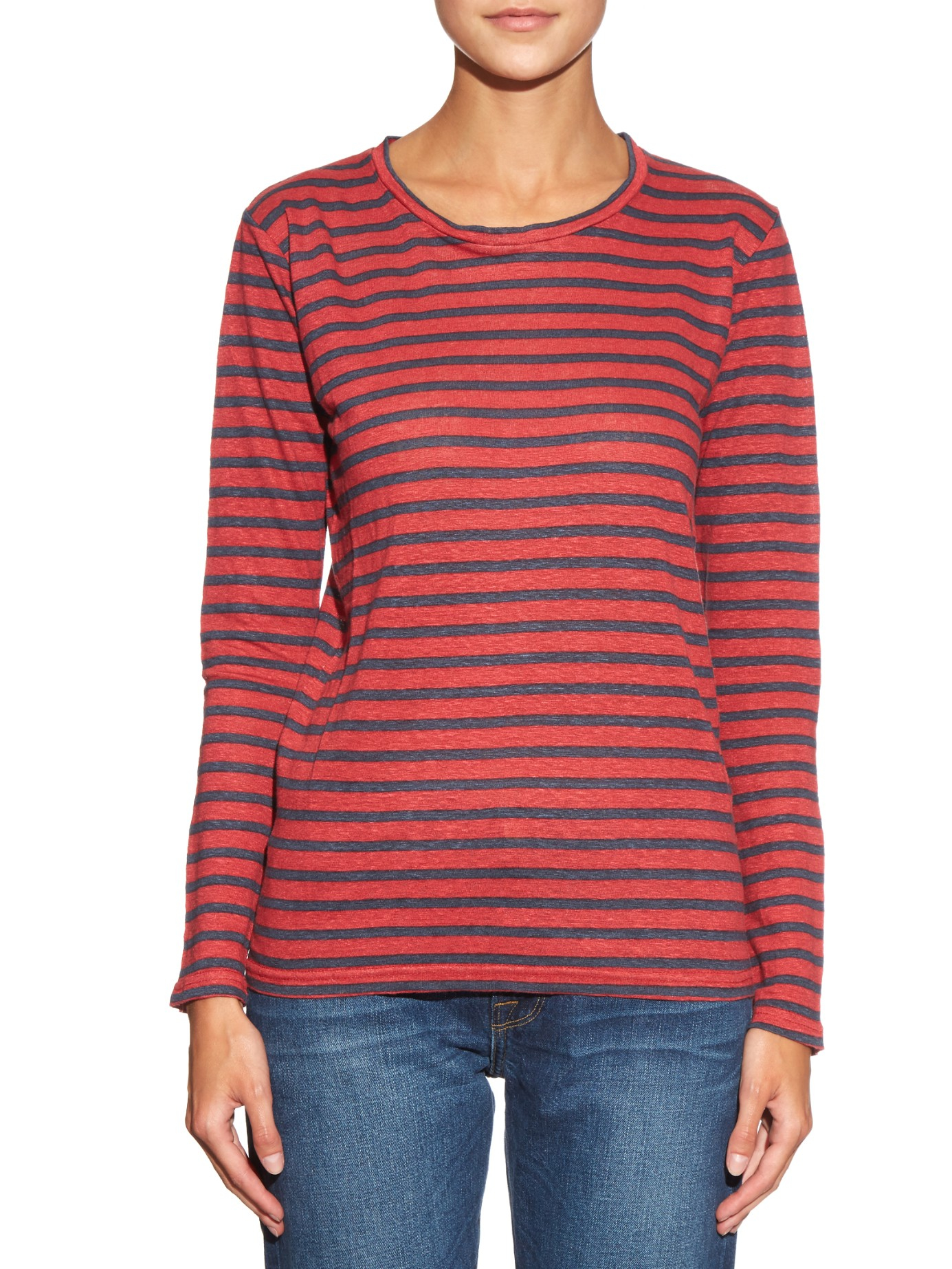 b607cce346d4b Lyst - Étoile Isabel Marant Karon Striped Linen T-shirt in Red
