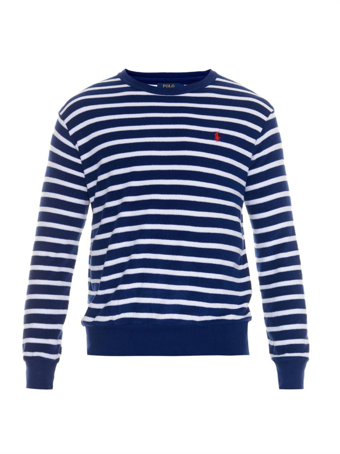 Lyst polo ralph lauren striped terry towelling long for Blue and white long sleeve shirt