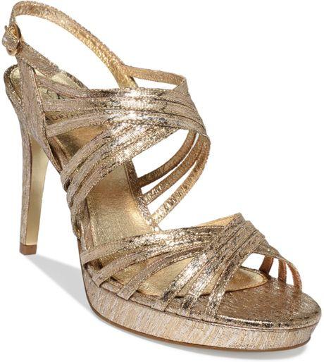 Adrianna Papell Aiden Platform Evening Sandals In Gold