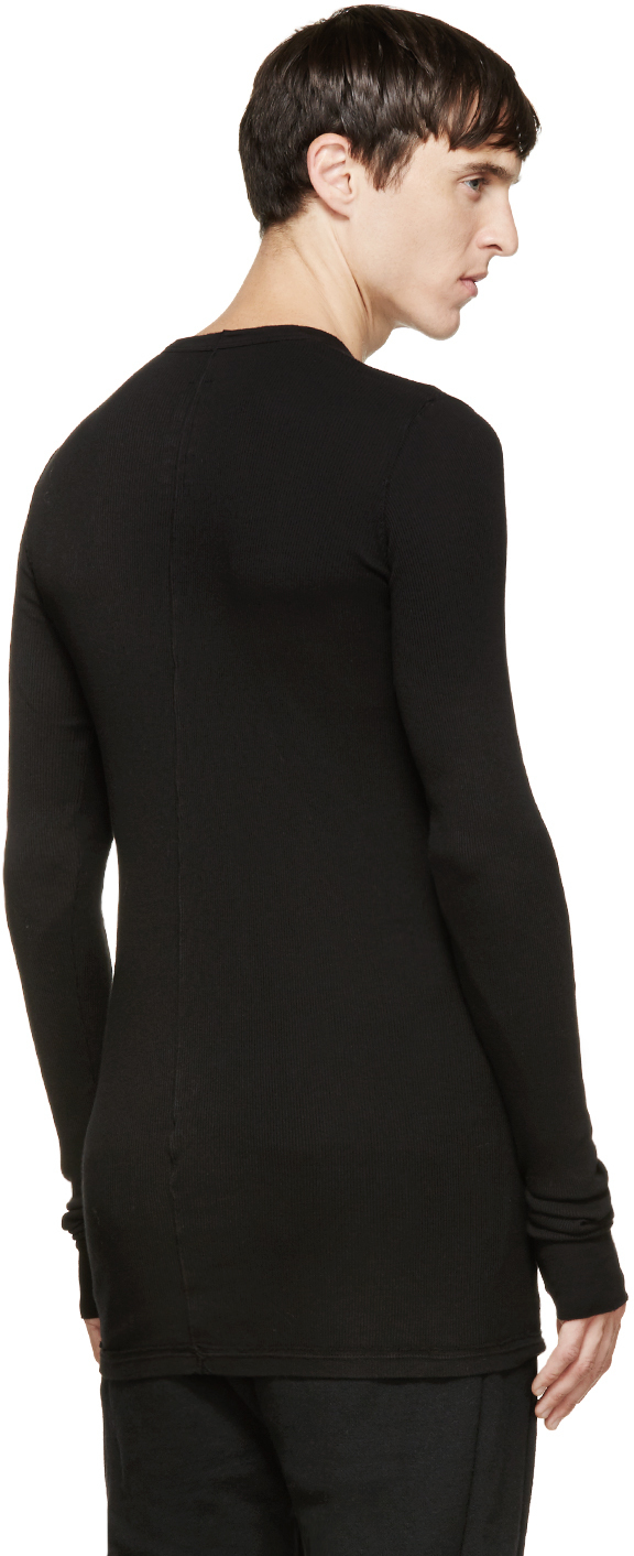 Lyst drkshdw by rick owens black ribbed long sleeve t for Ribbed long sleeve shirt