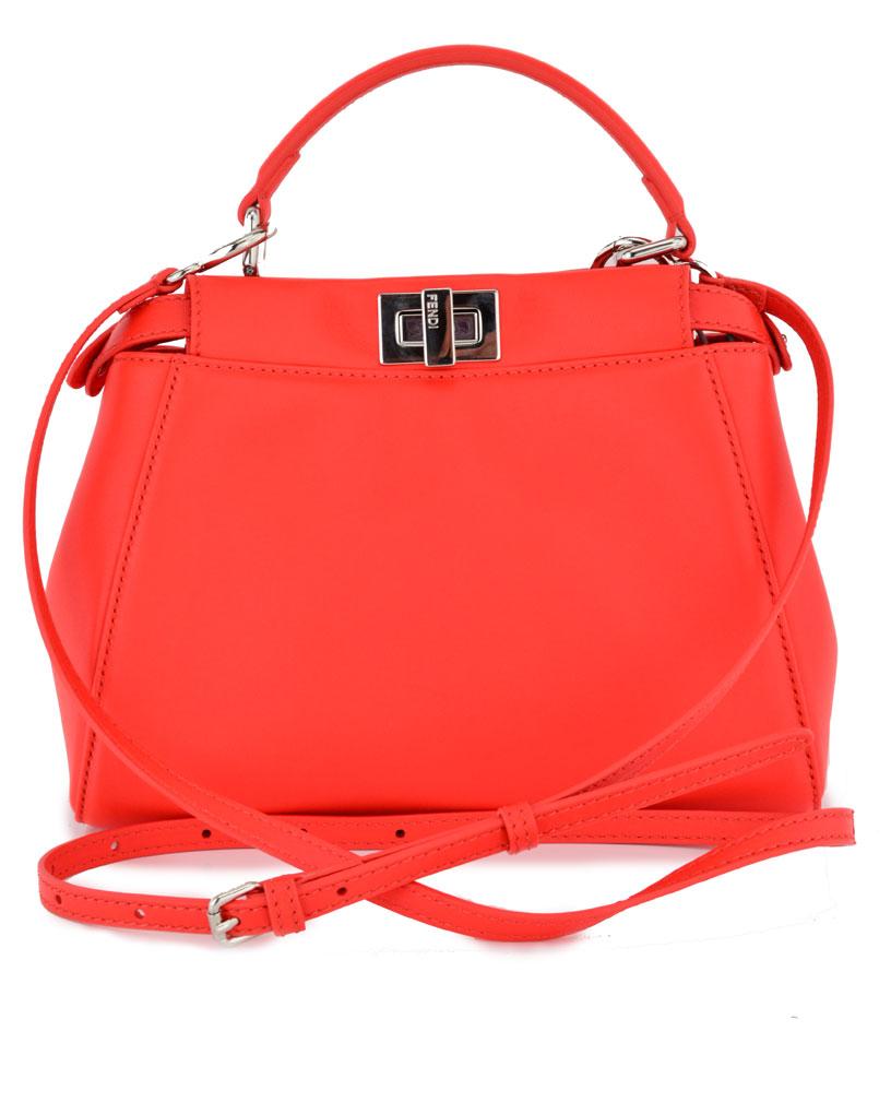cb266a29e15d Lyst - Fendi Poppy Peekaboo Mini Satchel in Red