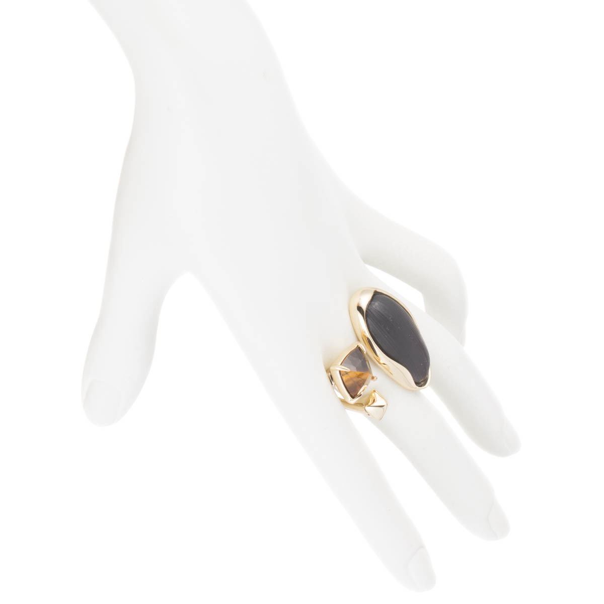 Tigers Eye And Amethyst Two Finger Rings
