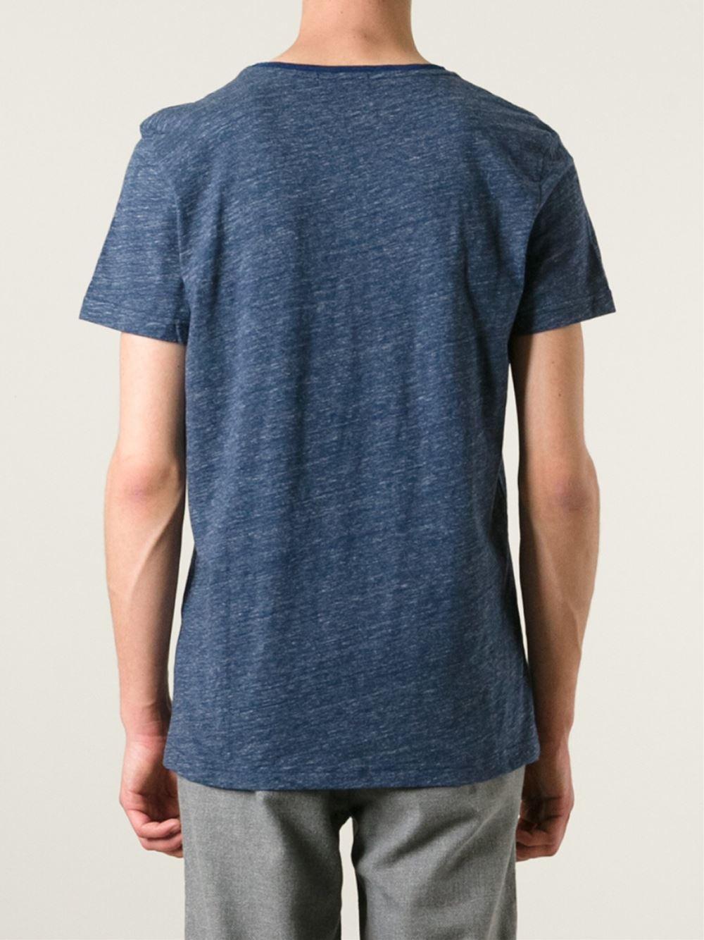oliver spencer marled t shirt in blue for men lyst. Black Bedroom Furniture Sets. Home Design Ideas