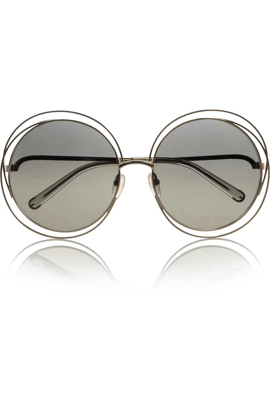 Chloe Gold Frame Sunglasses : Chloe Carlina Roundframe Metal Sunglasses in Gray Lyst