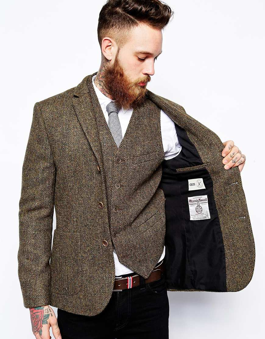 Asos Slim Fit Blazer In Harris Tweed in Natural for Men | Lyst