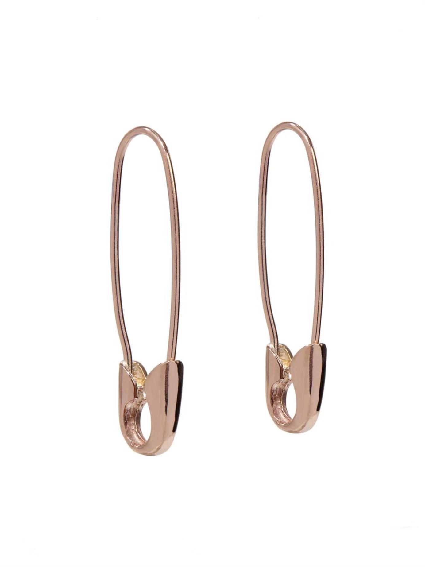 Loren Stewart Rose Gold Safety Pin Earrings In Rose Gold