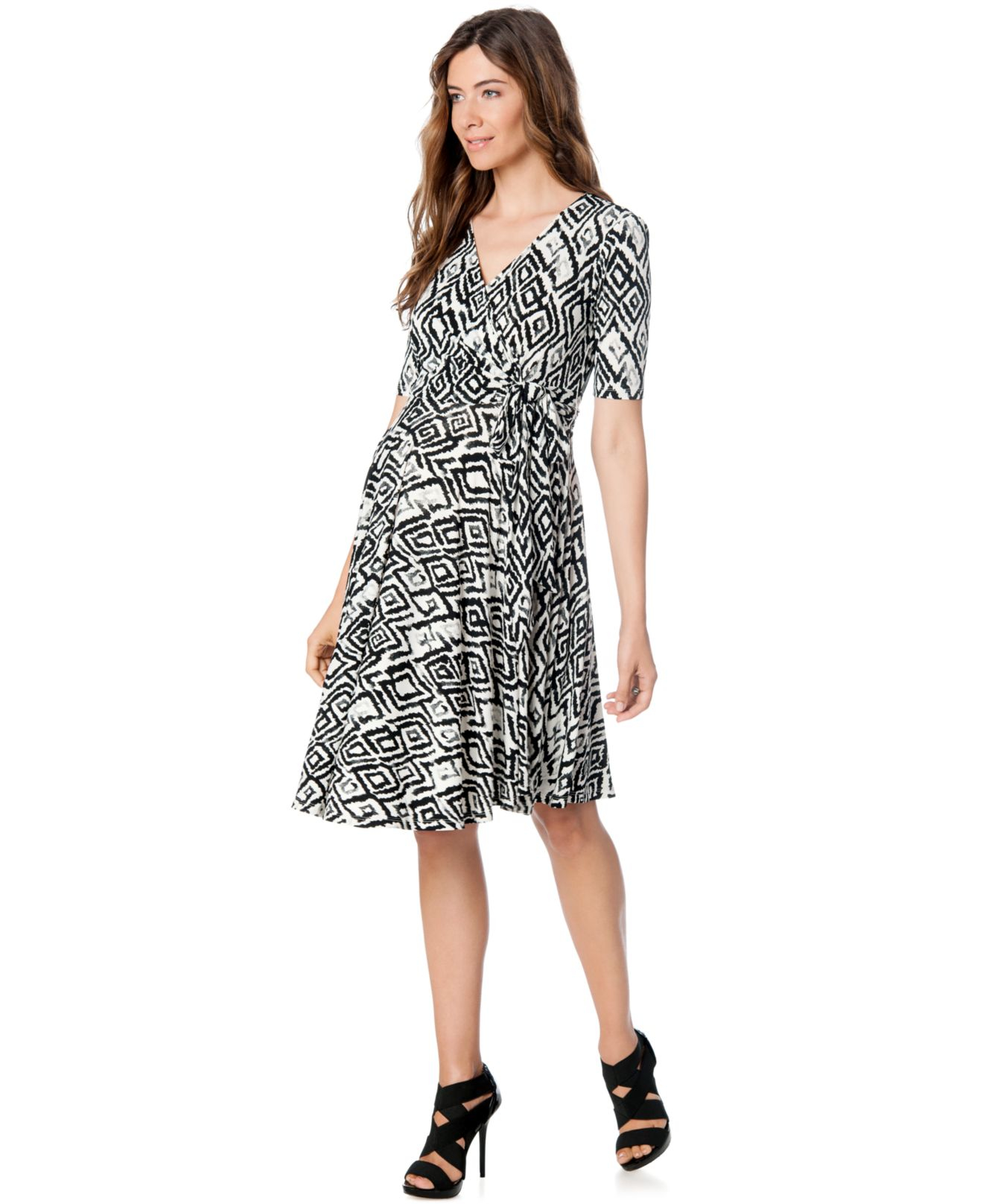 Donna morgan maternity printed faux wrap dress in black lyst gallery ombrellifo Choice Image