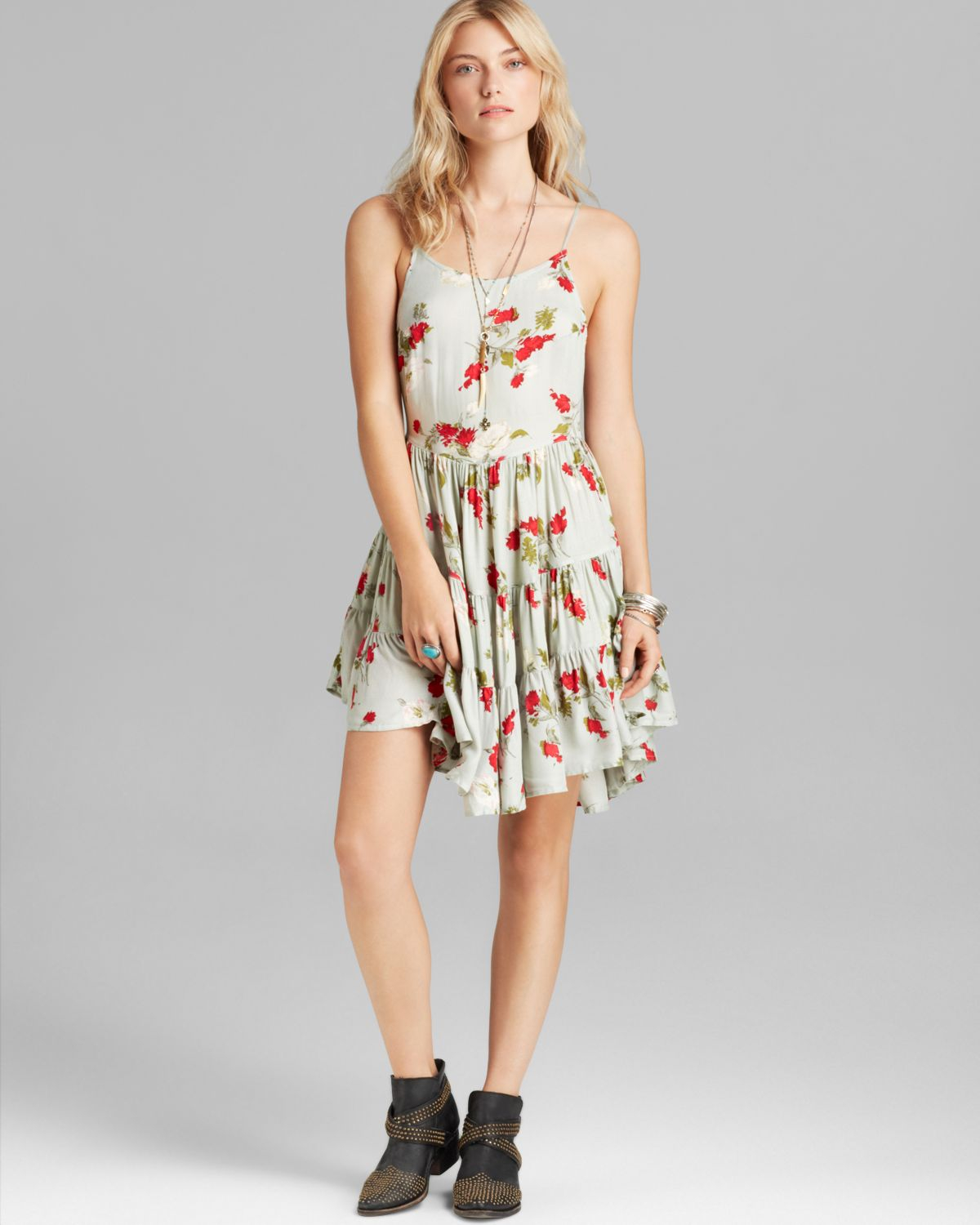 2ca826cab1b7d Free People Slip Dress - Circles Of Flowers in Green - Lyst