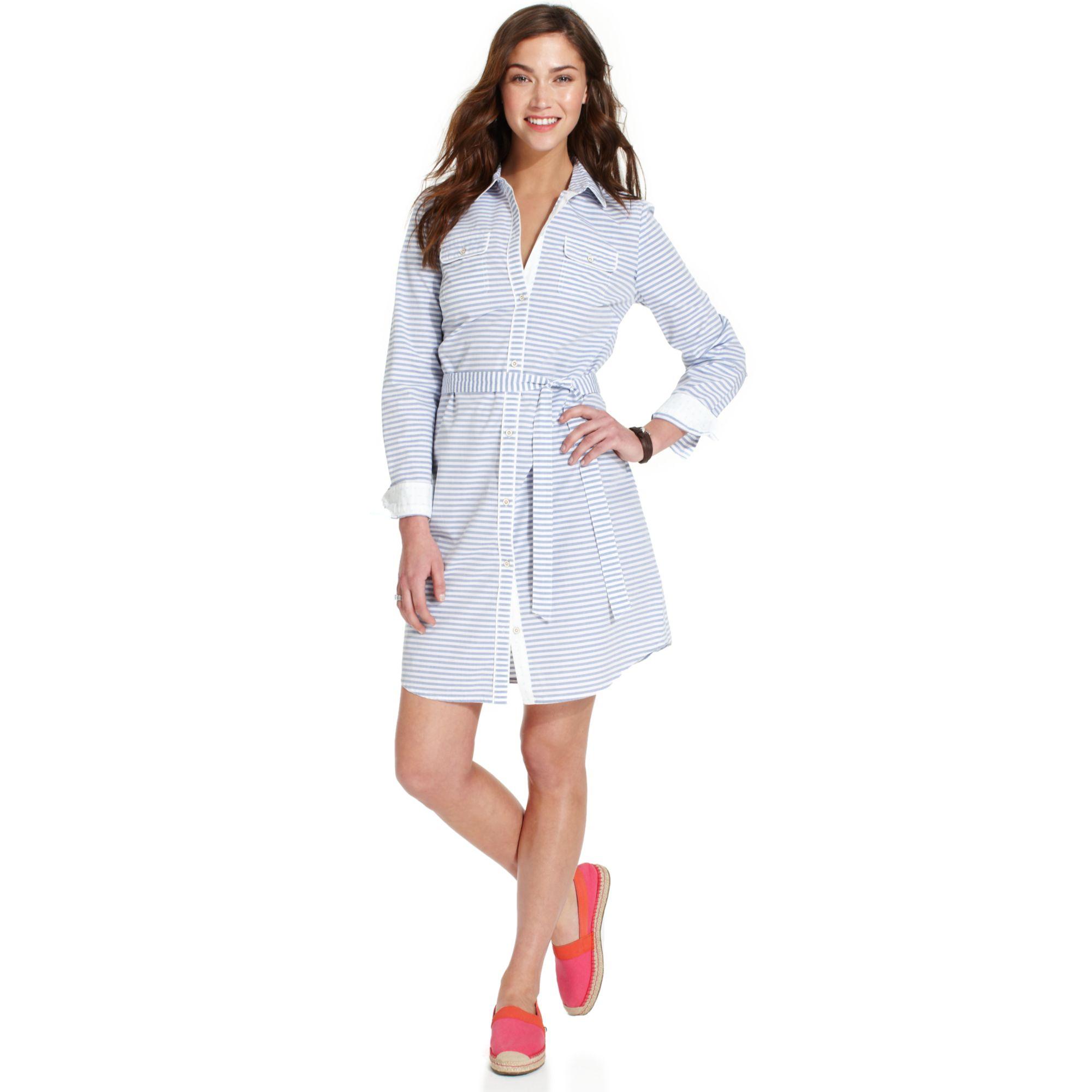 am beliebtesten klassisch Schnäppchen für Mode Long-sleeve Belted Striped Shirt Dress