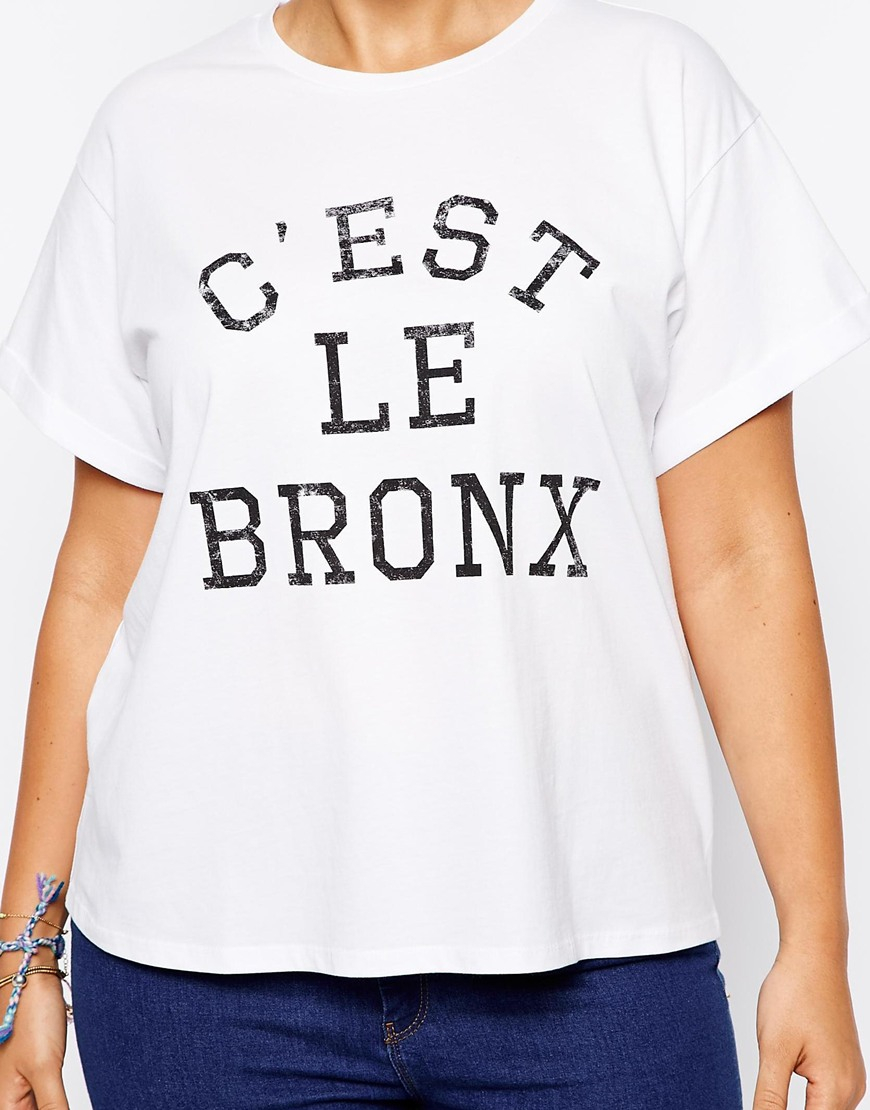 Lyst asos exclusive t shirt with c 39 est le bronx print in for T shirt printing bronx
