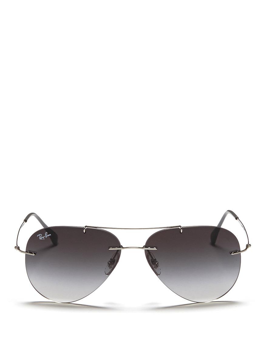 lyst ray ban aviator light ray rimless titanium sunglasses in rh lyst com