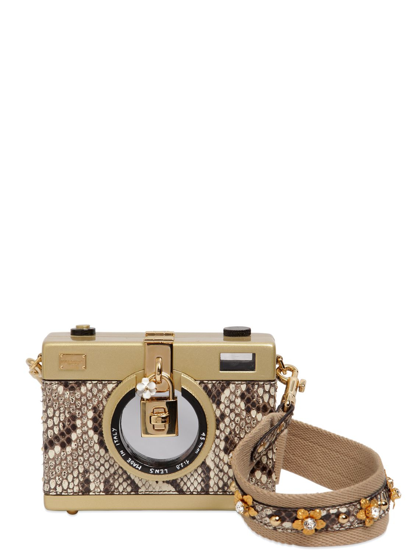 bd5dcdd286b Dolce & Gabbana Camera Shaped Python Shoulder Bag in Metallic - Lyst