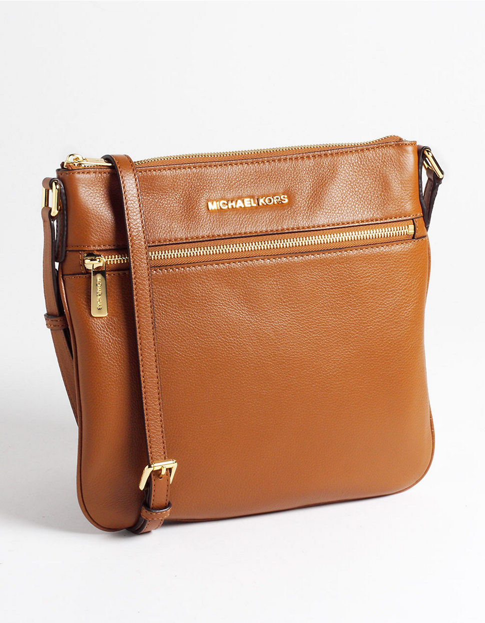 bbd045797357a4 MICHAEL Michael Kors Bedford Flat Leather Crossbody Bag in Brown - Lyst