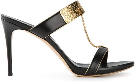 Casadei Plaque Detail Sandals in Black - Lyst