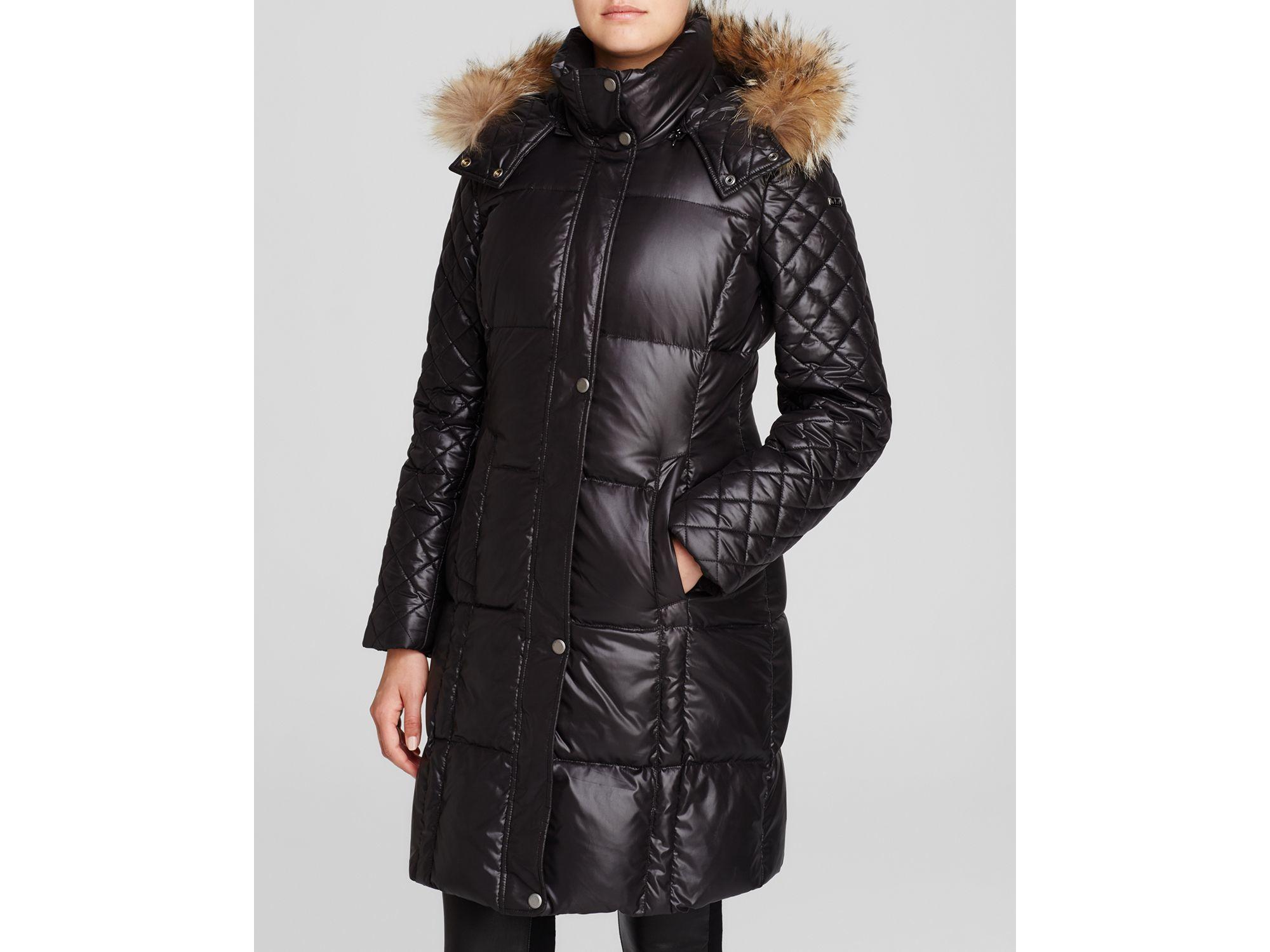 Lyst Marc New York Alana Fur Trim Hooded Puffer Coat In