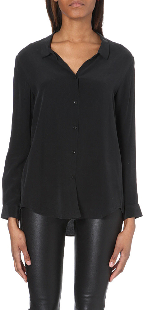 The Kooples Silk Boyfriend Shirt Women 39 S Size S Black