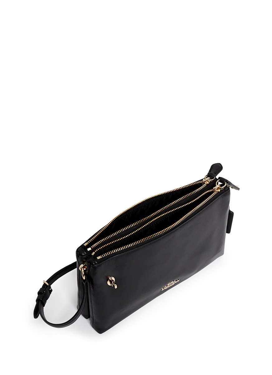 Lyst Coach Crosby Double Zip Leather Crossbody Bag In