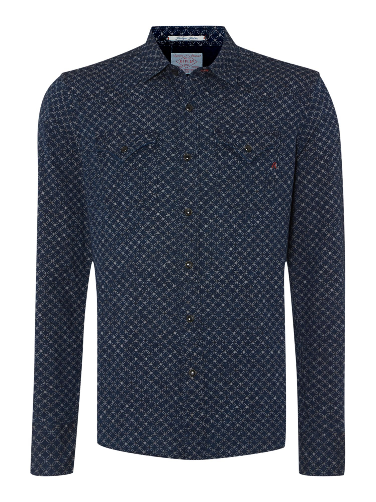 replay slim fit western shirt in blue for men indigo lyst