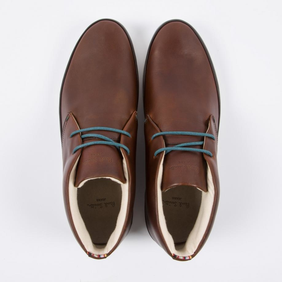 Paul smith Men's Brown Leather 'loomis' Chukka Boots With White ...