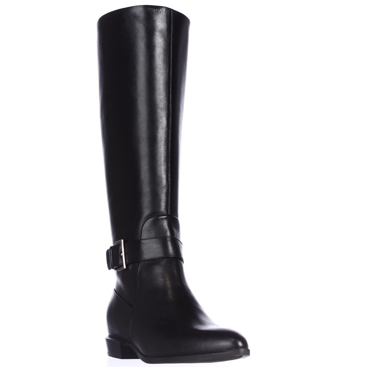 nine west diablo knee high pointed toe boots in black lyst