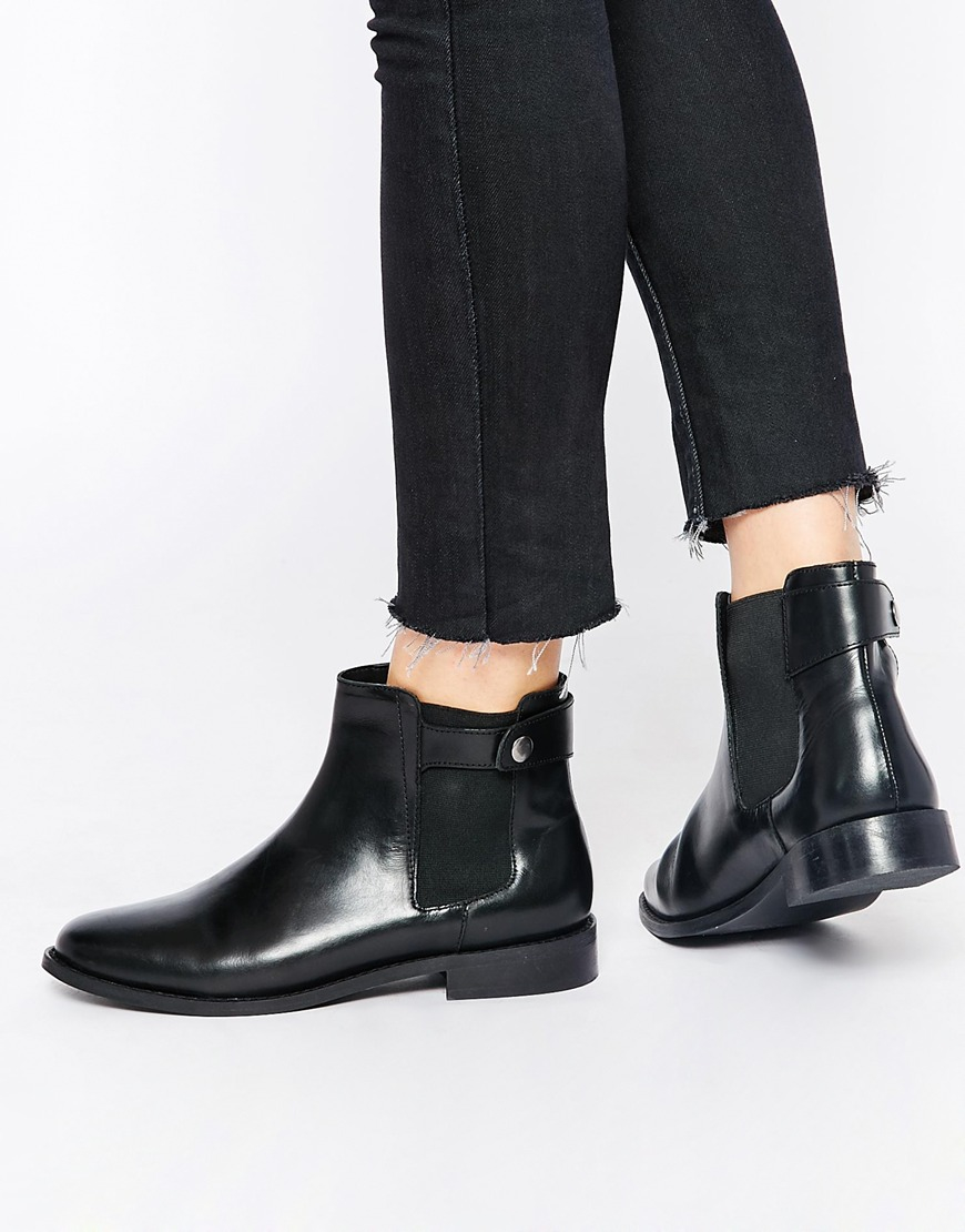 ed9422d0969c Lyst - Faith Subaru Black Leather Flat Chelsea Boots in Black