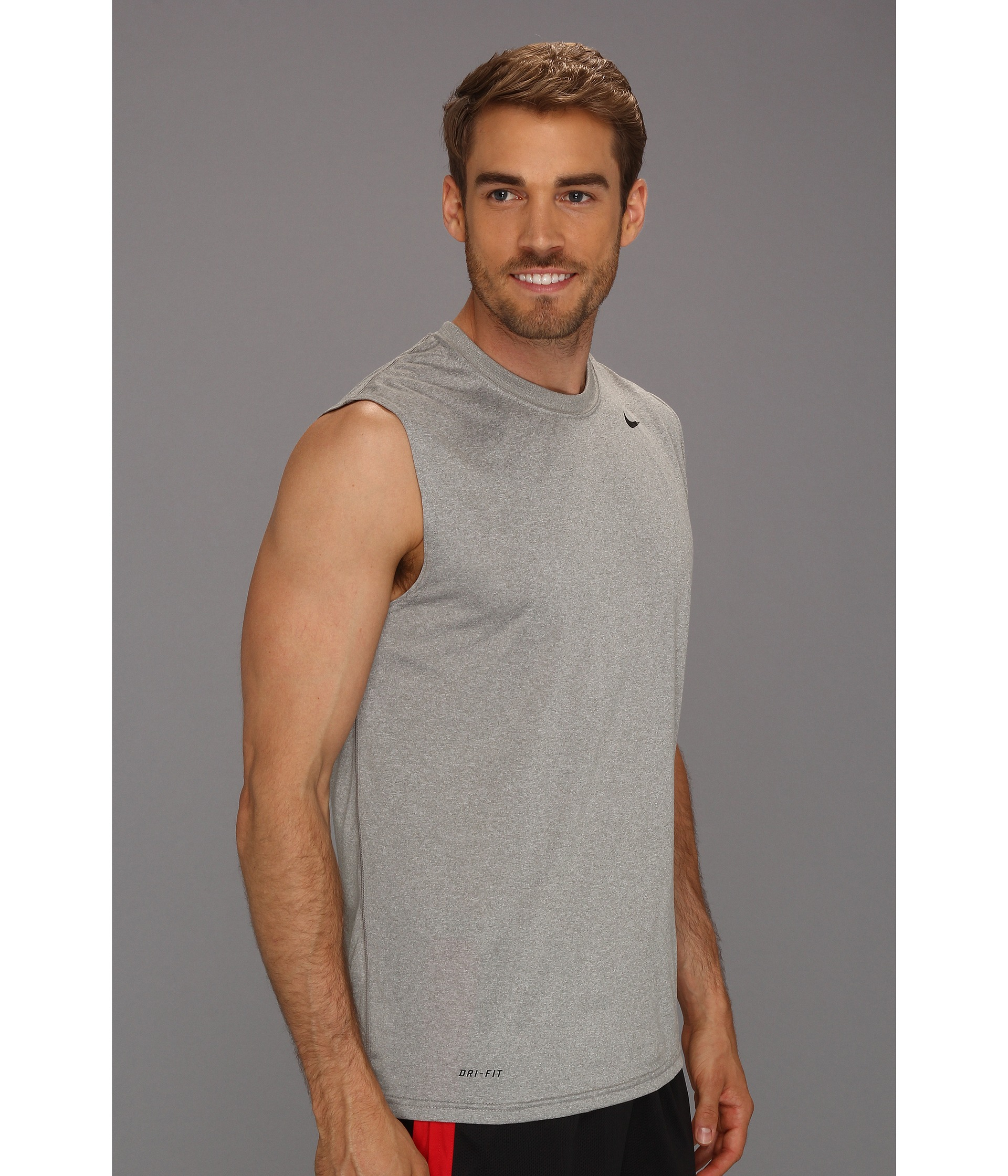 Nike dri fit legend sleeveless training shirt in gray for for Dri fit dress shirts