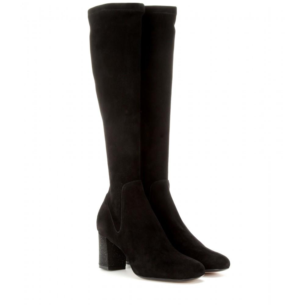 calvin klein suede glitter boots in black lyst