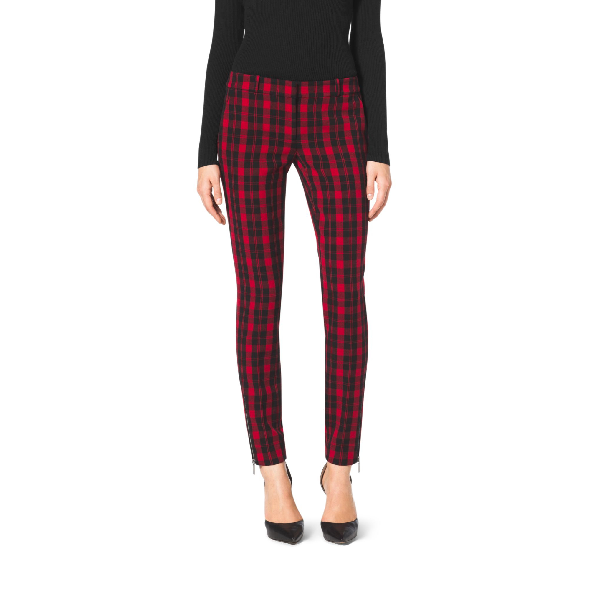 Michael kors Plaid Skinny Pants in Red | Lyst