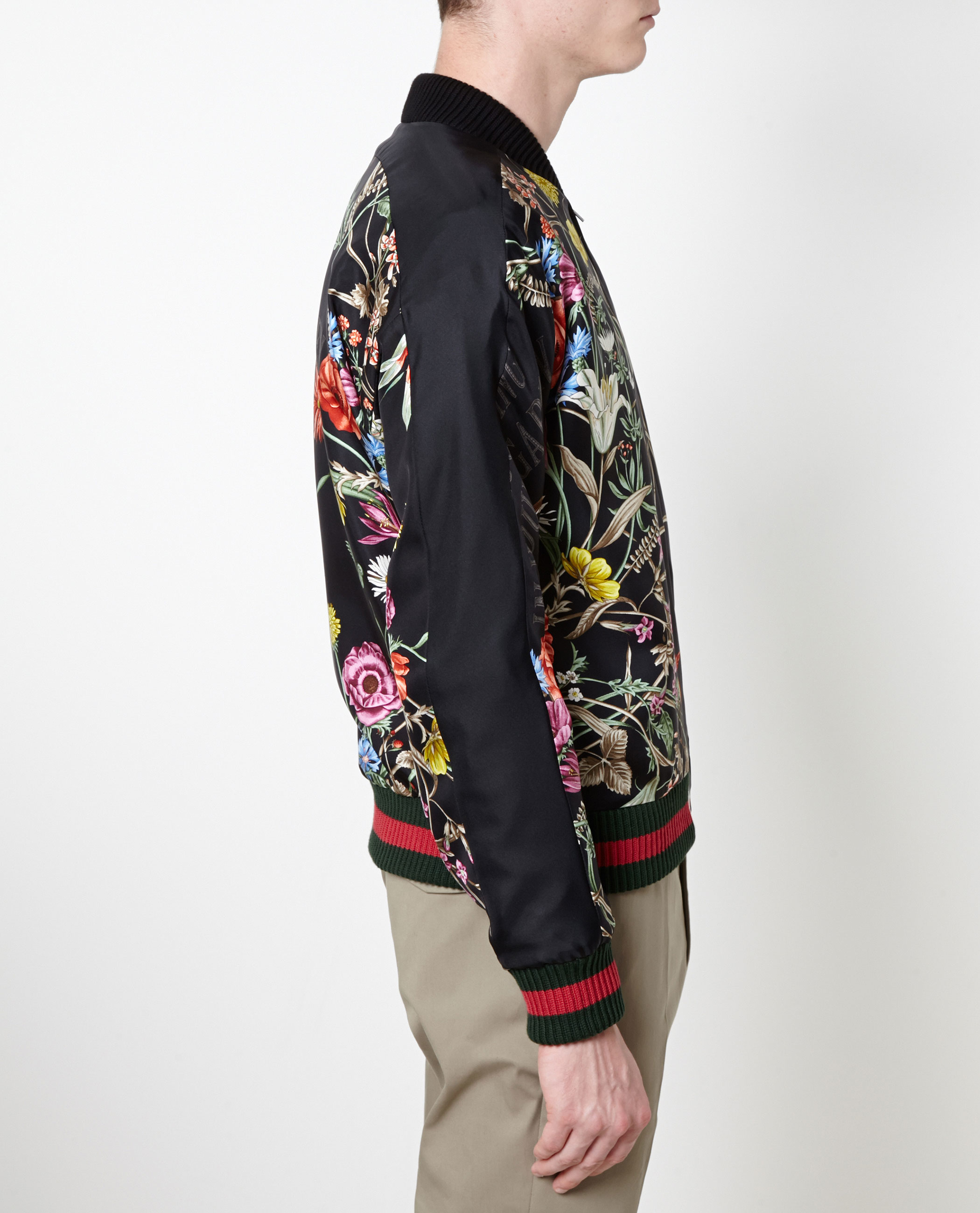 d69042f756f Gucci Floral-print Embroidered Silk Bomber Jacket in Black - Lyst