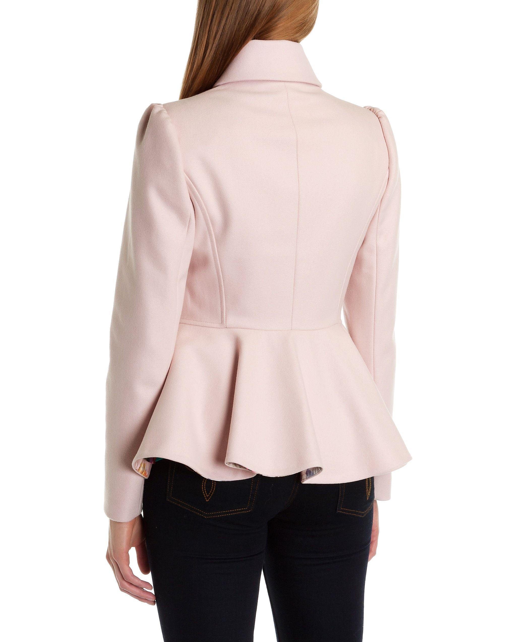 Ted baker Sollel Short Peplum Coat in Pink | Lyst
