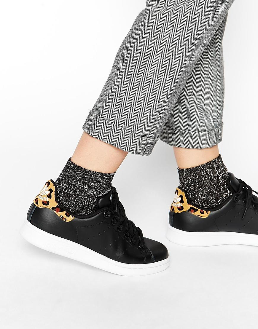 adidas originals stan smith black animal print sneakers in black lyst. Black Bedroom Furniture Sets. Home Design Ideas