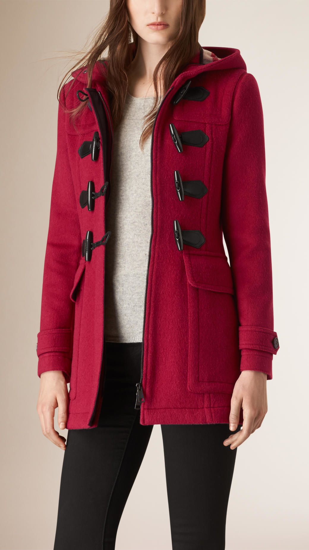 Burberry Fitted Wool Duffle Coat in Pink | Lyst
