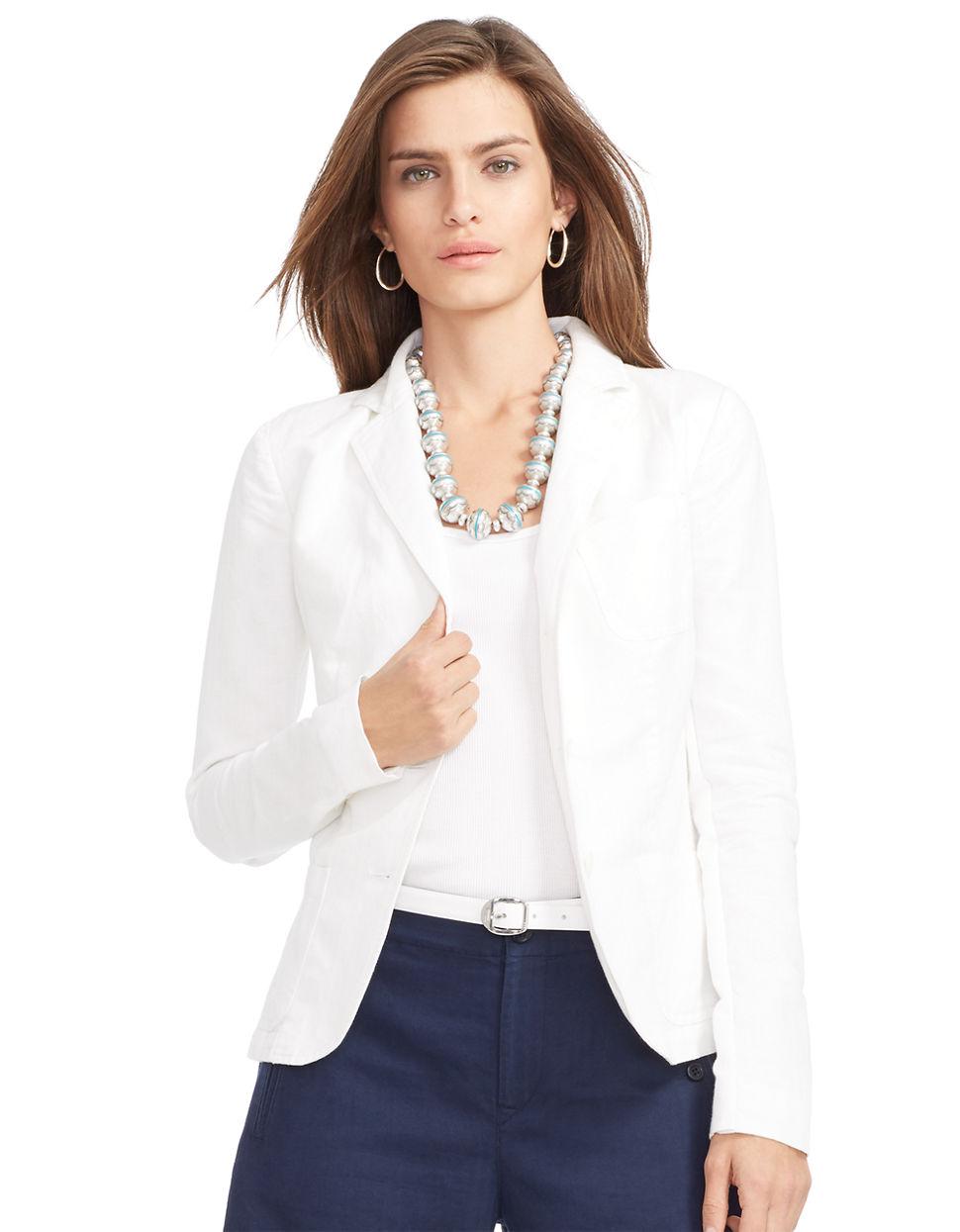 Lauren By Ralph Lauren Linen Cotton Blazer In White Lyst