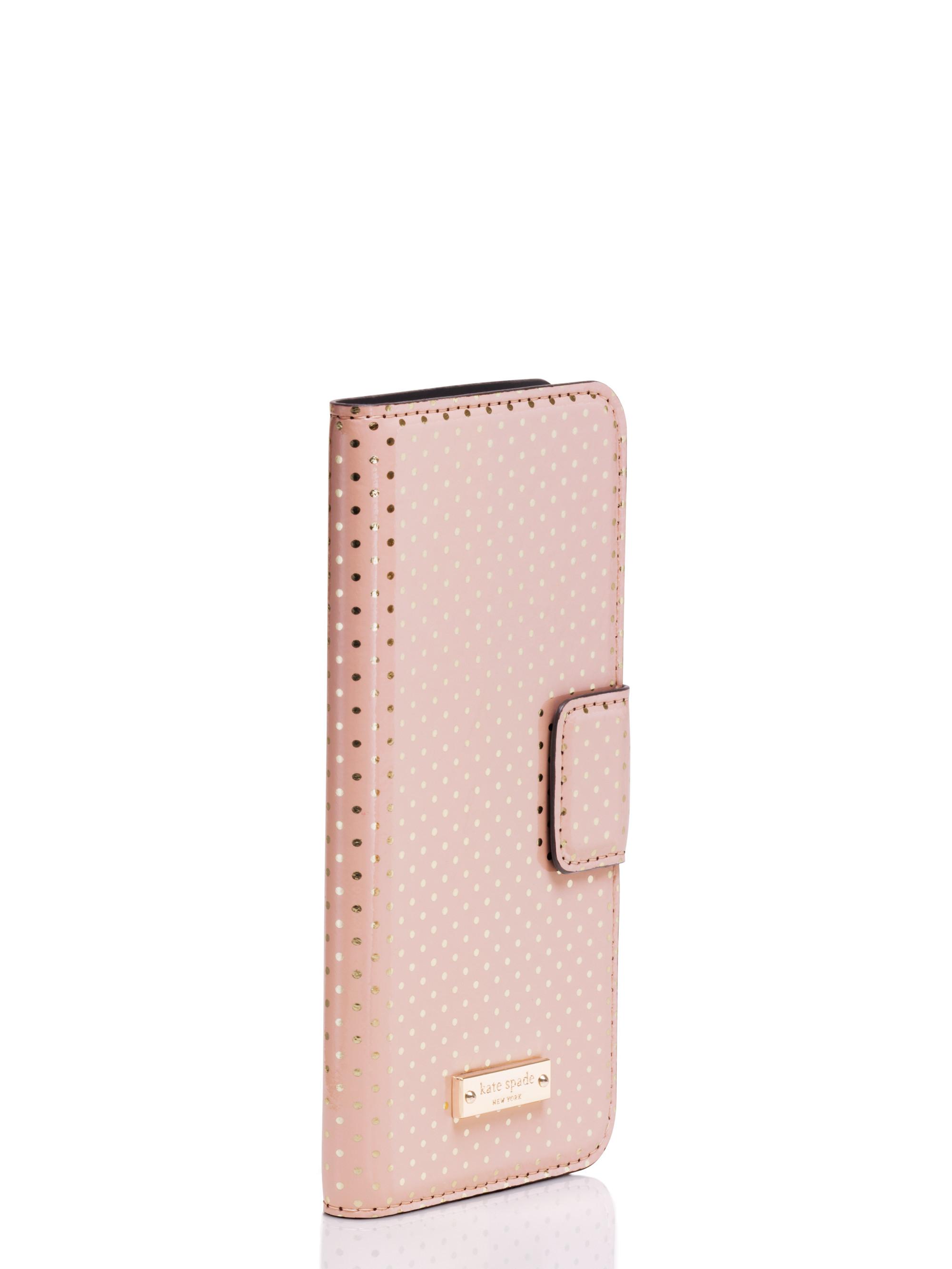 timeless design 342e2 73917 kate spade new york Pink Tiny Gold Dot Iphone 6 Folio