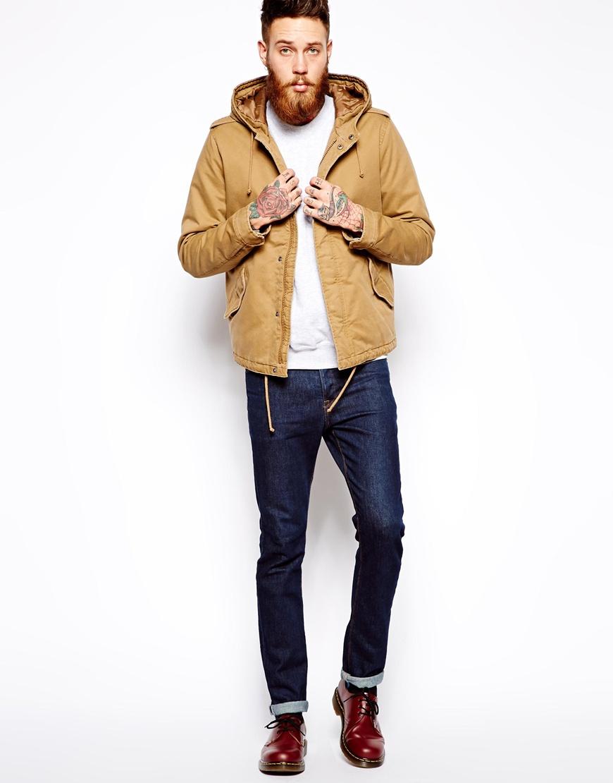 Asos Lightweight Parka Jacket in Natural for Men | Lyst