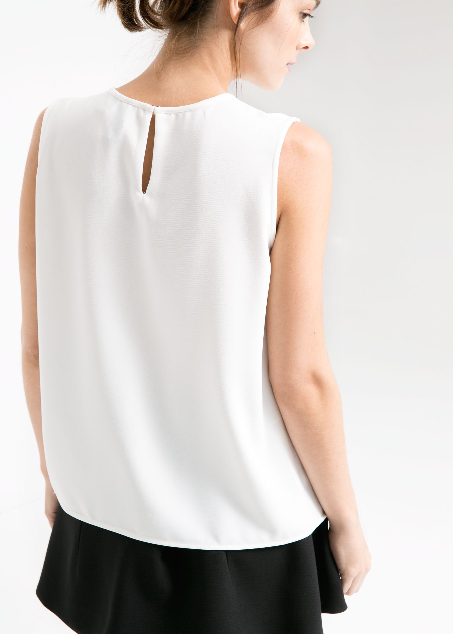 Mango Pleat Crepe Top In White Lyst