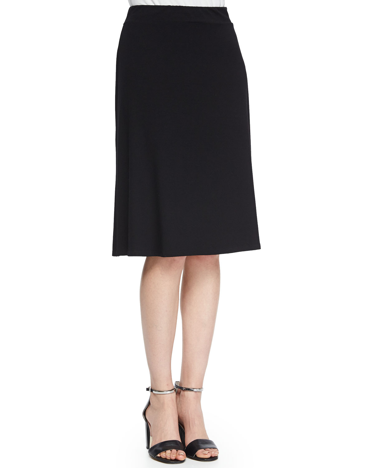 eileen fisher draped back knee length flared